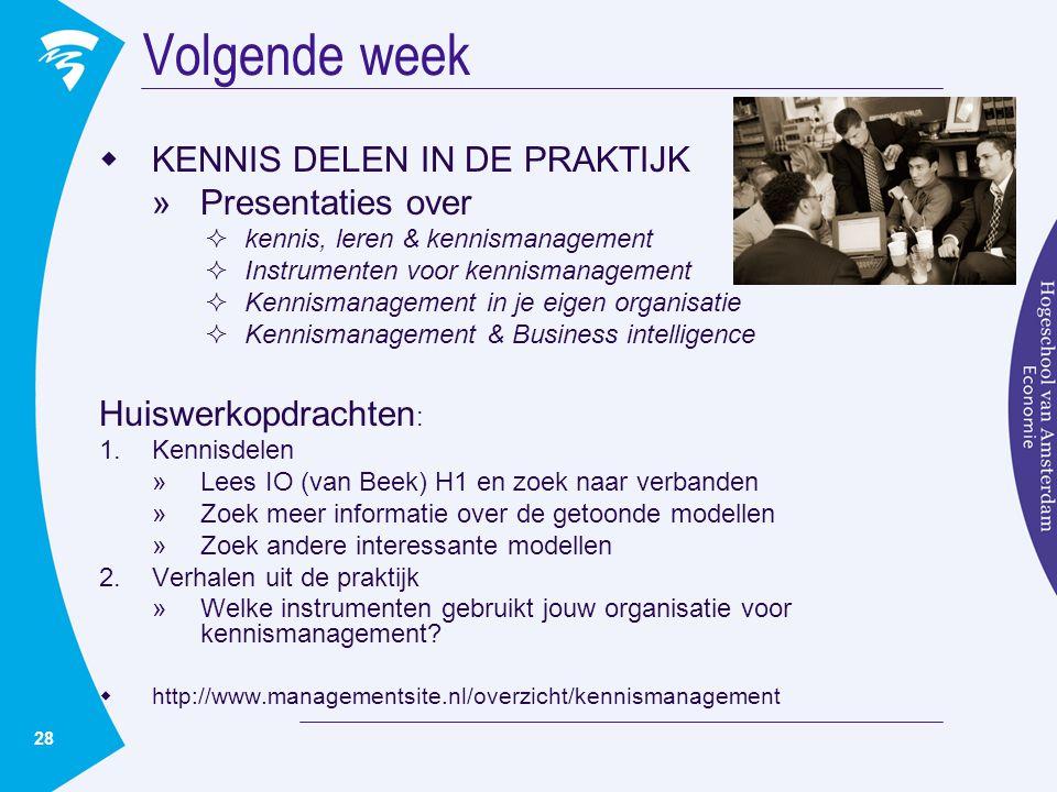 28 Volgende week  KENNIS DELEN IN DE PRAKTIJK »Presentaties over  kennis, leren & kennismanagement  Instrumenten voor kennismanagement  Kennismana