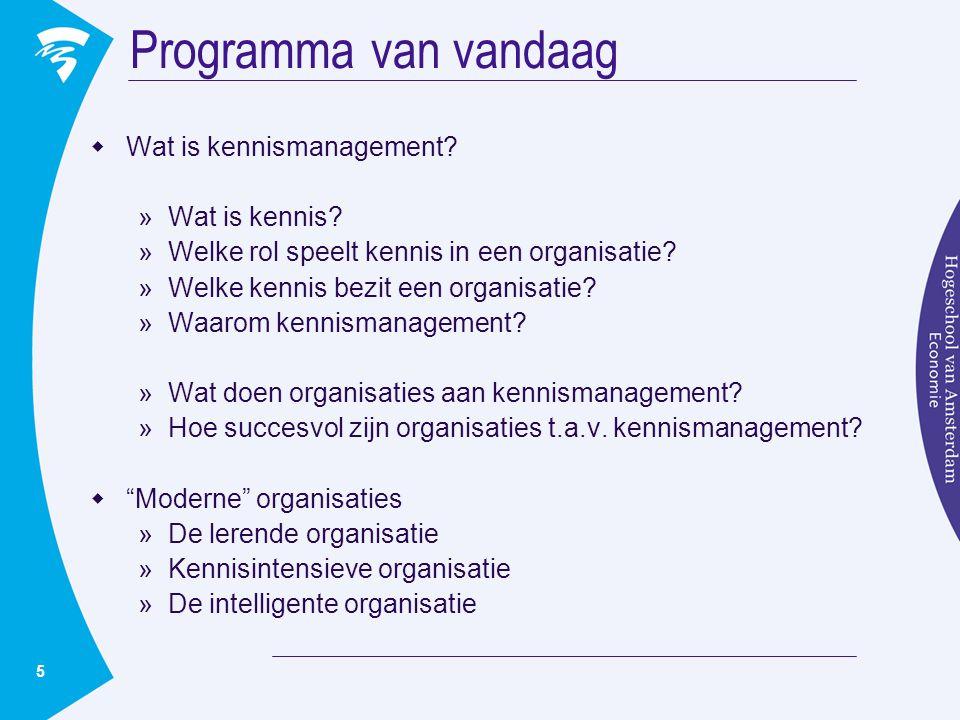 5 Programma van vandaag  Wat is kennismanagement? »Wat is kennis? »Welke rol speelt kennis in een organisatie? »Welke kennis bezit een organisatie? »
