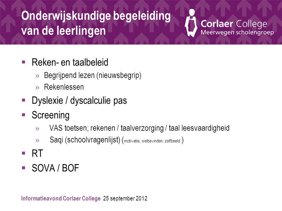 Informatieavond Corlaer College 25 september 2012 Onderwijskundige begeleiding van de leerlingen  Reken- en taalbeleid » Begrijpend lezen (nieuwsbegr