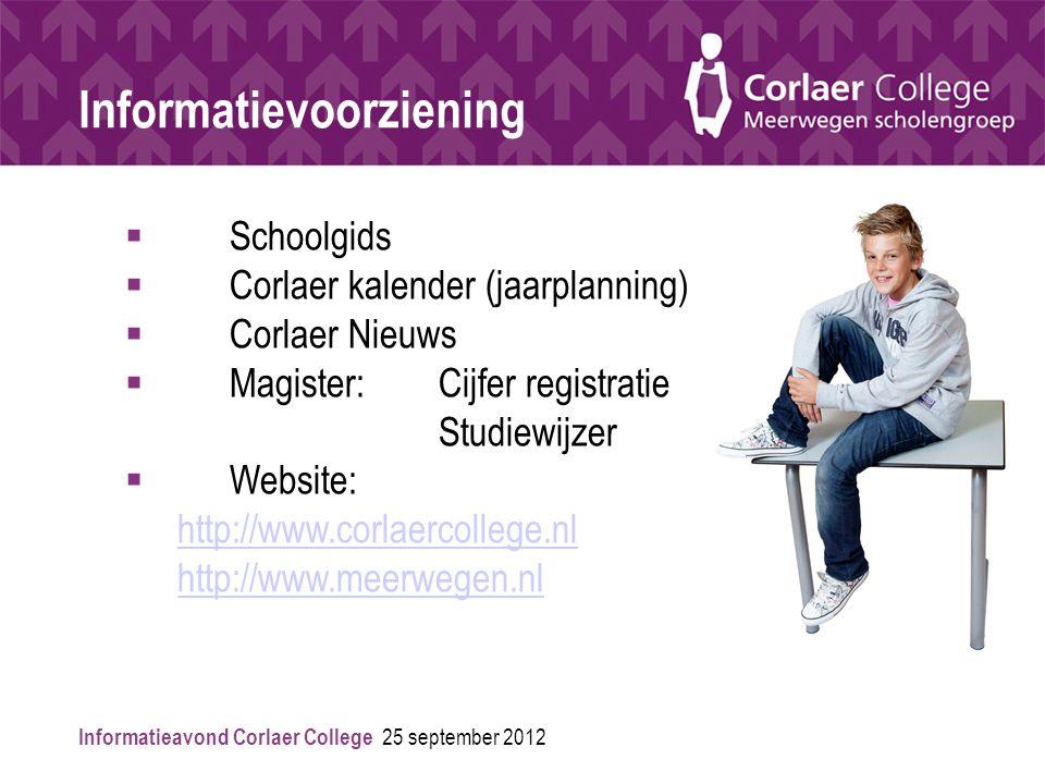 Informatievoorziening  Schoolgids  Corlaer kalender (jaarplanning)  Corlaer Nieuws  Magister: Cijfer registratie Studiewijzer  Website: http://www.corlaercollege.nl http://www.meerwegen.nl