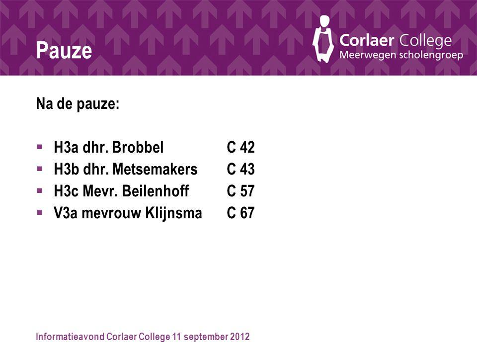 Informatieavond Corlaer College 11 september 2012 Pauze Na de pauze:  H3a dhr. BrobbelC 42  H3b dhr. MetsemakersC 43  H3c Mevr. Beilenhoff C 57  V