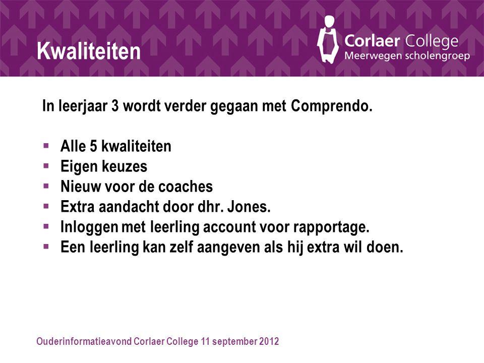 Ouderinformatieavond Corlaer College 11 september 2012 Kwaliteiten In leerjaar 3 wordt verder gegaan met Comprendo.  Alle 5 kwaliteiten  Eigen keuze