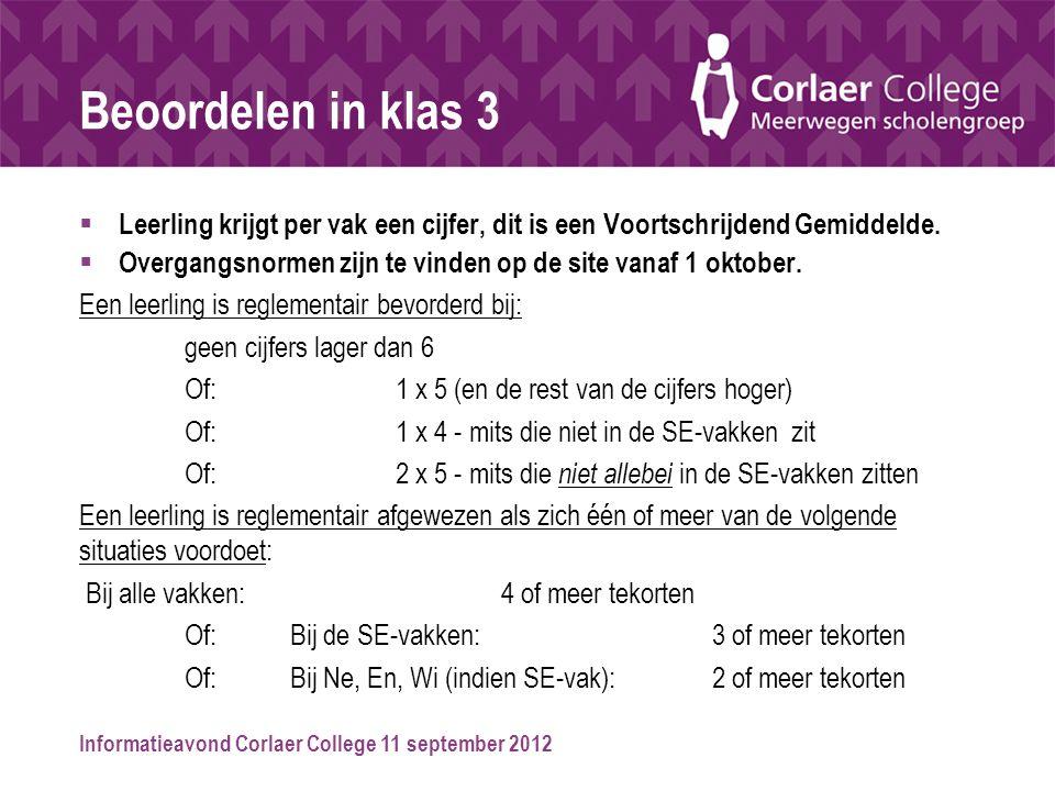 Informatieavond Corlaer College 11 september 2012 Beoordelen in klas 3  Leerling krijgt per vak een cijfer, dit is een Voortschrijdend Gemiddelde. 