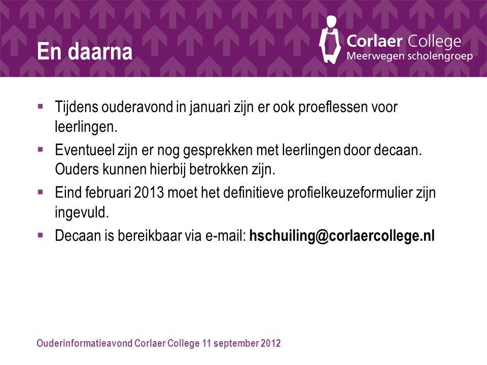Ouderinformatieavond Corlaer College 11 september 2012 En daarna  Tijdens ouderavond in januari zijn er ook proeflessen voor leerlingen.  Eventueel