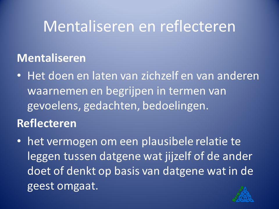 Mentaliseren en reflecteren Mentaliseren Het doen en laten van zichzelf en van anderen waarnemen en begrijpen in termen van gevoelens, gedachten, bedo
