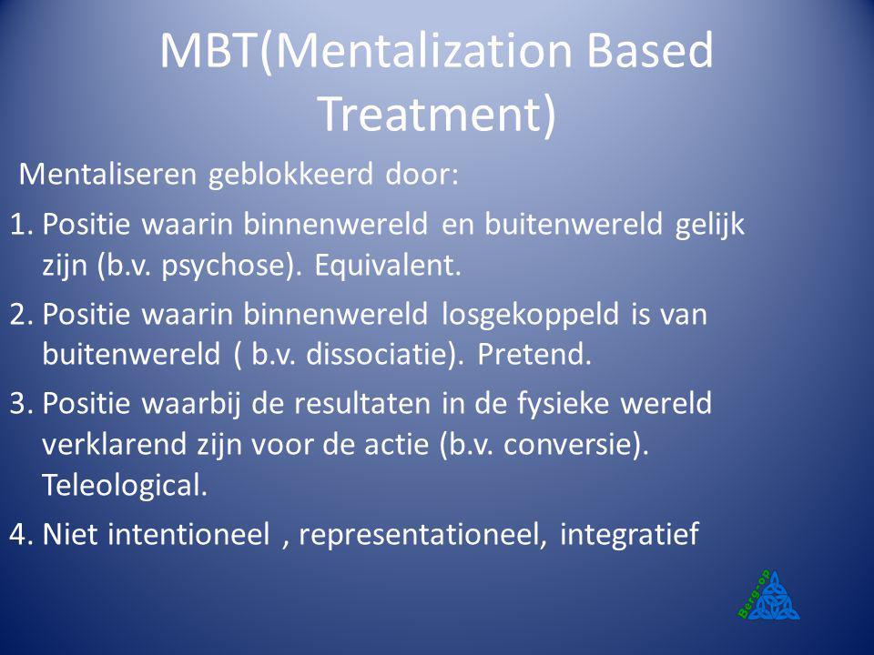 MBT(Mentalization Based Treatment) Mentaliseren geblokkeerd door: 1.Positie waarin binnenwereld en buitenwereld gelijk zijn (b.v. psychose). Equivalen