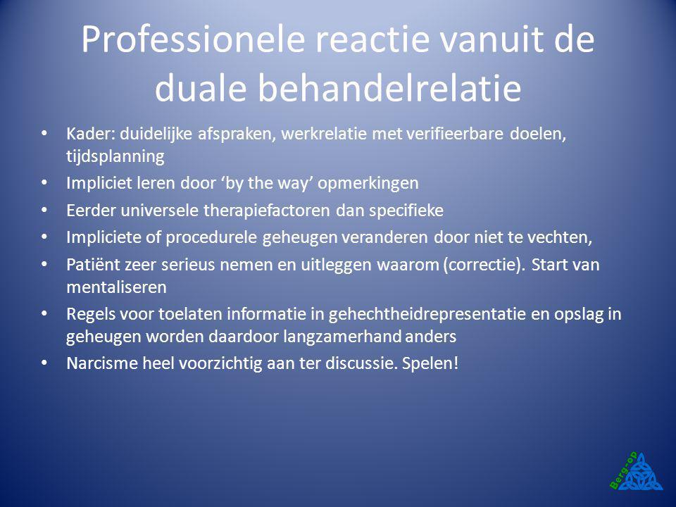 Professionele reactie vanuit de duale behandelrelatie Kader: duidelijke afspraken, werkrelatie met verifieerbare doelen, tijdsplanning Impliciet leren