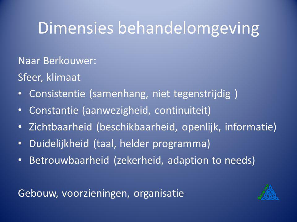 Dimensies behandelomgeving Naar Berkouwer: Sfeer, klimaat Consistentie (samenhang, niet tegenstrijdig ) Constantie (aanwezigheid, continuiteit) Zichtb