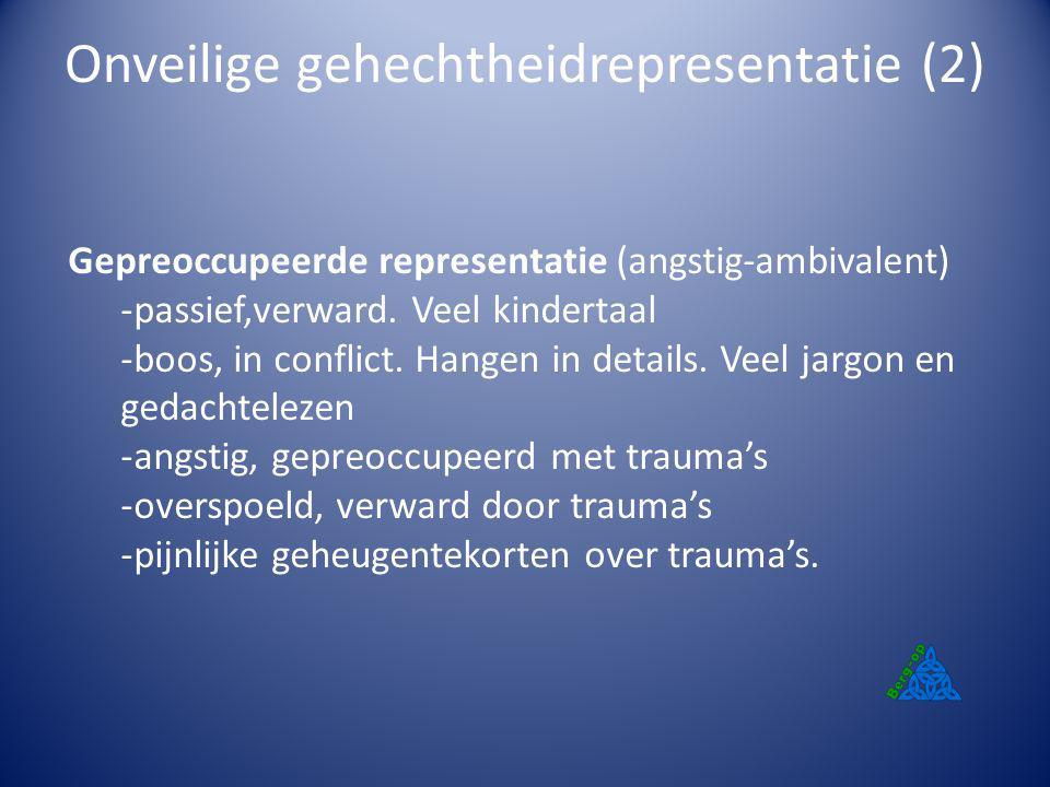 Onveilige gehechtheidrepresentatie (2) Gepreoccupeerde representatie (angstig-ambivalent) -passief,verward. Veel kindertaal -boos, in conflict. Hangen