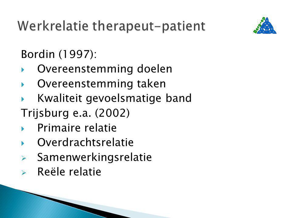 Bordin (1997):  Overeenstemming doelen  Overeenstemming taken  Kwaliteit gevoelsmatige band Trijsburg e.a.