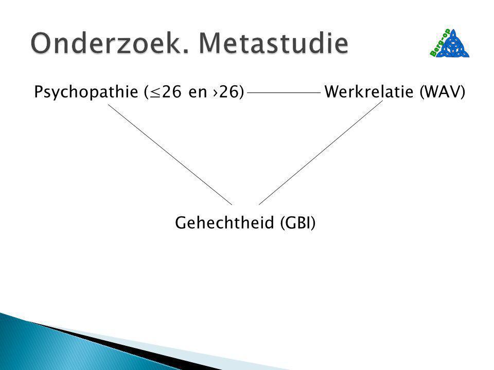 Psychopathie (≤26 en ›26)Werkrelatie (WAV) Gehechtheid (GBI)