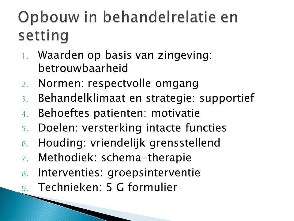 1. Waarden op basis van zingeving: betrouwbaarheid 2. Normen: respectvolle omgang 3. Behandelklimaat en strategie: supportief 4. Behoeftes patienten:
