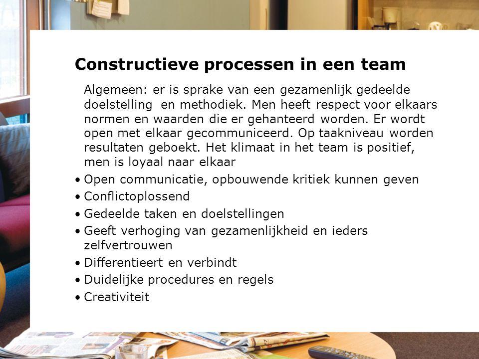 Constructieve processen in een team Algemeen: er is sprake van een gezamenlijk gedeelde doelstelling en methodiek. Men heeft respect voor elkaars norm