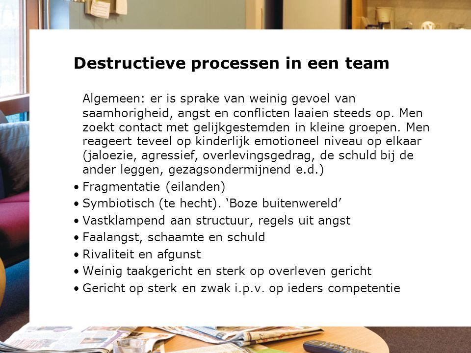 Destructieve processen in een team Algemeen: er is sprake van weinig gevoel van saamhorigheid, angst en conflicten laaien steeds op. Men zoekt contact