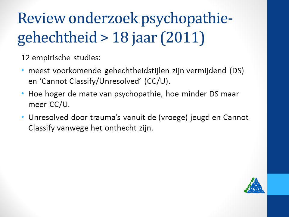 Review onderzoek psychopathie- gehechtheid > 18 jaar (2011) 12 empirische studies: meest voorkomende gehechtheidstijlen zijn vermijdend (DS) en 'Canno