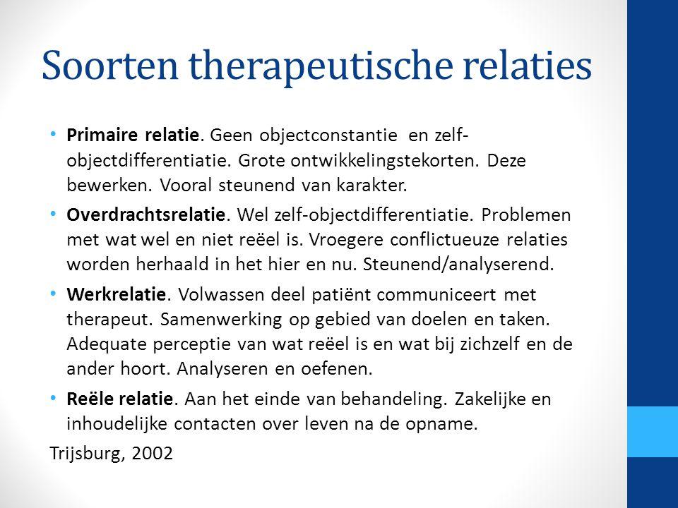 Soorten therapeutische relaties Primaire relatie. Geen objectconstantie en zelf- objectdifferentiatie. Grote ontwikkelingstekorten. Deze bewerken. Voo