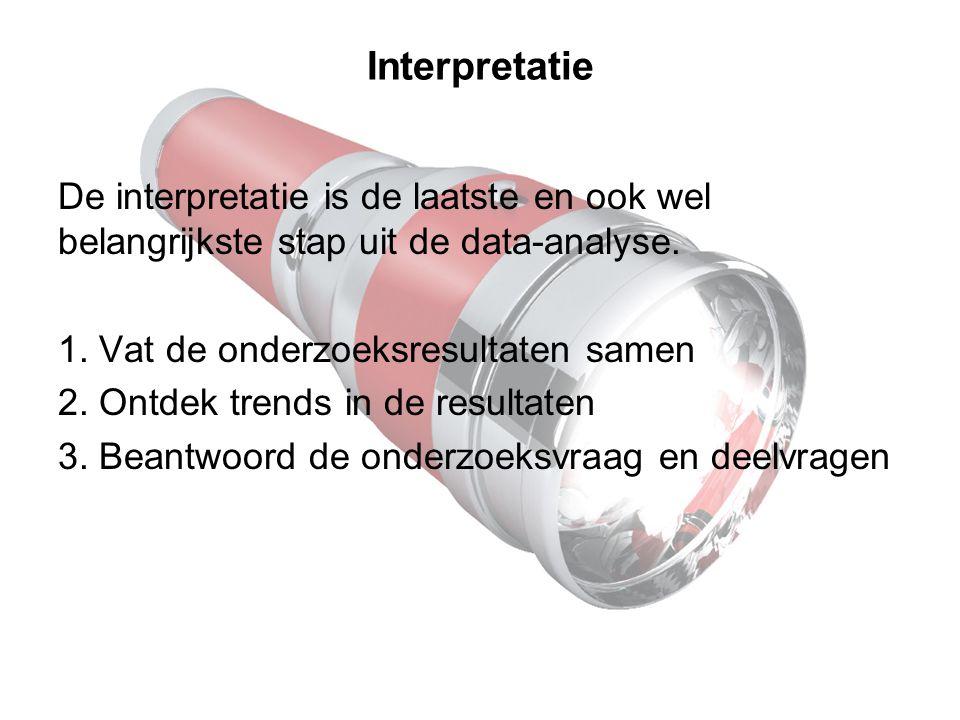 Interpretatie De interpretatie is de laatste en ook wel belangrijkste stap uit de data-analyse. 1. Vat de onderzoeksresultaten samen 2. Ontdek trends