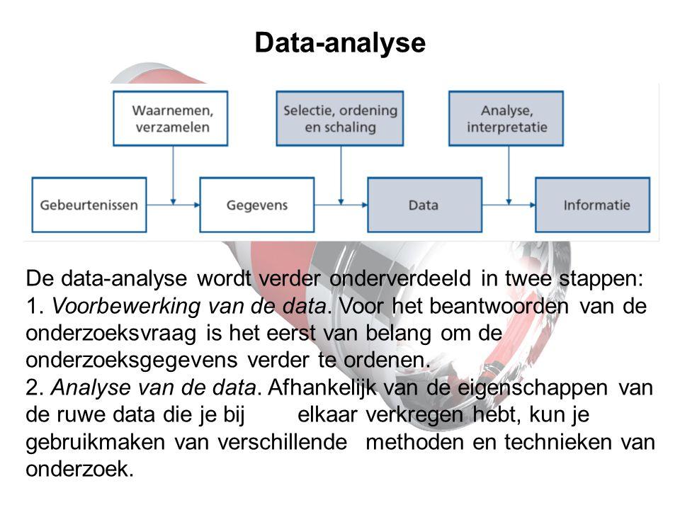 Data-analyse De data-analyse wordt verder onderverdeeld in twee stappen: 1. Voorbewerking van de data. Voor het beantwoorden van de onderzoeksvraag is