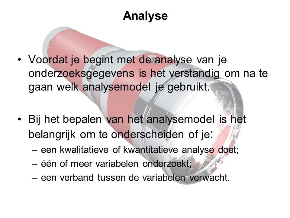 Analyse Voordat je begint met de analyse van je onderzoeksgegevens is het verstandig om na te gaan welk analysemodel je gebruikt. Bij het bepalen van