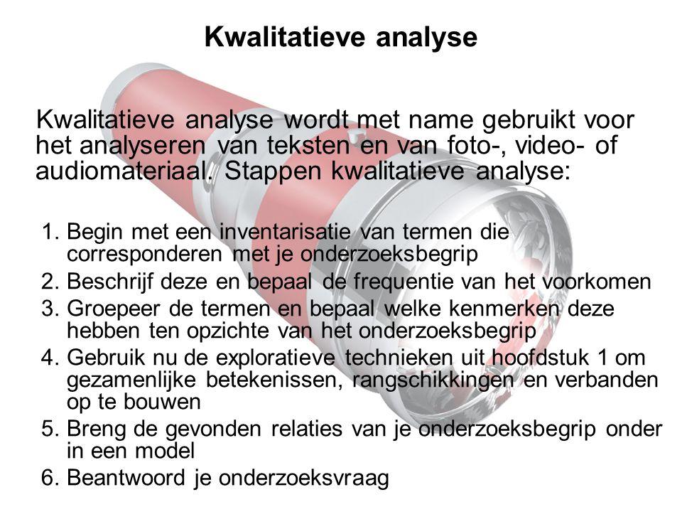 Kwalitatieve analyse Kwalitatieve analyse wordt met name gebruikt voor het analyseren van teksten en van foto-, video- of audiomateriaal. Stappen kwal