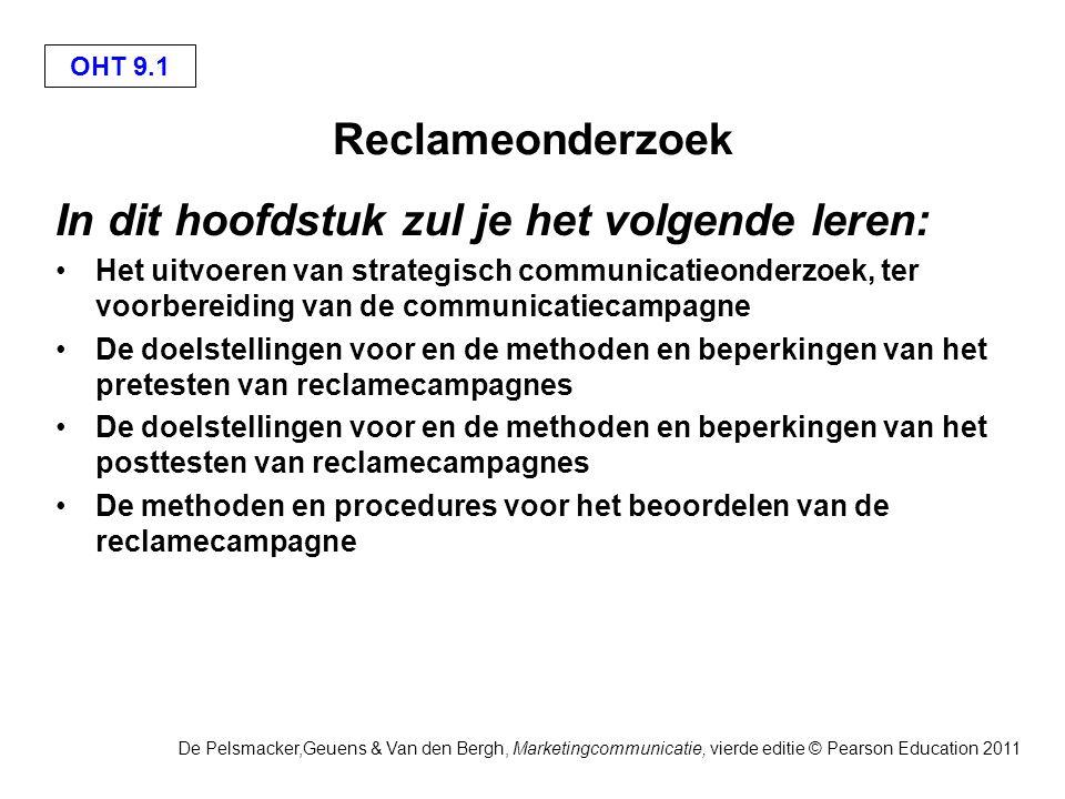 OHT 9.1 De Pelsmacker,Geuens & Van den Bergh, Marketingcommunicatie, vierde editie © Pearson Education 2011 Reclameonderzoek In dit hoofdstuk zul je h