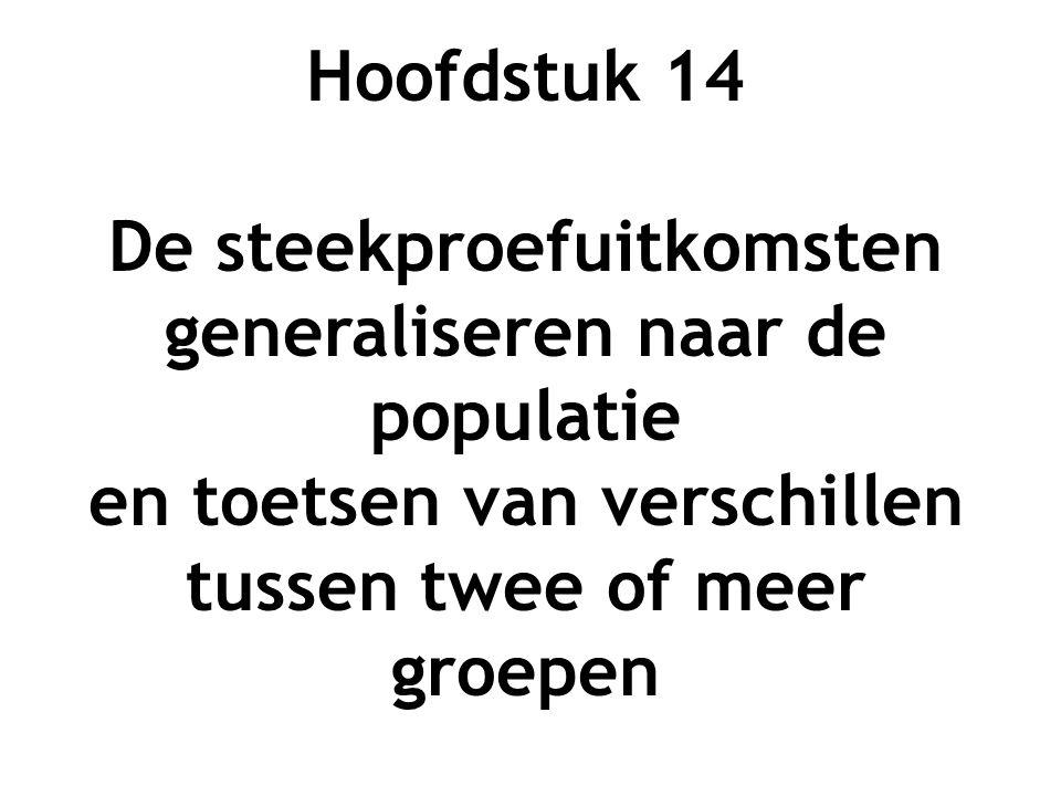 Hoofdstuk 14 De steekproefuitkomsten generaliseren naar de populatie en toetsen van verschillen tussen twee of meer groepen