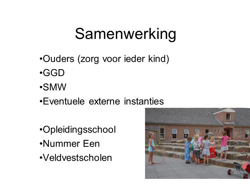 Samenwerking Ouders (zorg voor ieder kind) GGD SMW Eventuele externe instanties Opleidingsschool Nummer Een Veldvestscholen