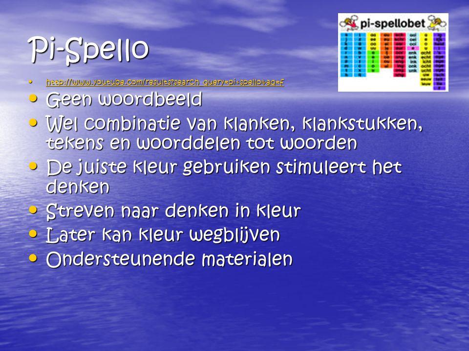 Pi-Spello http://www.youtube.com/results?search_query=pi+spello&aq=f http://www.youtube.com/results?search_query=pi+spello&aq=f http://www.youtube.com/results?search_query=pi+spello&aq=f Geen woordbeeld Geen woordbeeld Wel combinatie van klanken, klankstukken, tekens en woorddelen tot woorden Wel combinatie van klanken, klankstukken, tekens en woorddelen tot woorden De juiste kleur gebruiken stimuleert het denken De juiste kleur gebruiken stimuleert het denken Streven naar denken in kleur Streven naar denken in kleur Later kan kleur wegblijven Later kan kleur wegblijven Ondersteunende materialen Ondersteunende materialen