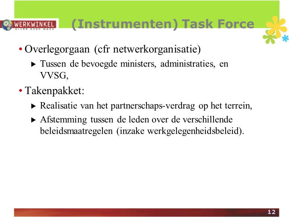 12 (Instrumenten) Task Force Overlegorgaan (cfr netwerkorganisatie)  Tussen de bevoegde ministers, administraties, en VVSG, Takenpakket:  Realisatie van het partnerschaps-verdrag op het terrein,  Afstemming tussen de leden over de verschillende beleidsmaatregelen (inzake werkgelegenheidsbeleid).