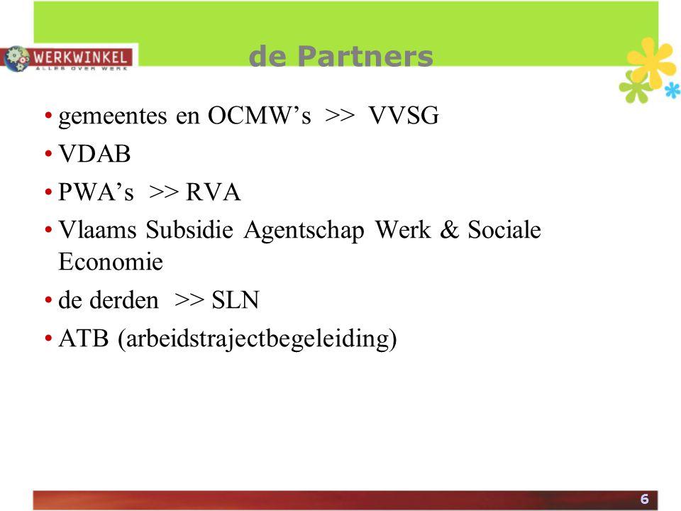 6 de Partners gemeentes en OCMW's >> VVSG VDAB PWA's >> RVA Vlaams Subsidie Agentschap Werk & Sociale Economie de derden >> SLN ATB (arbeidstrajectbegeleiding)