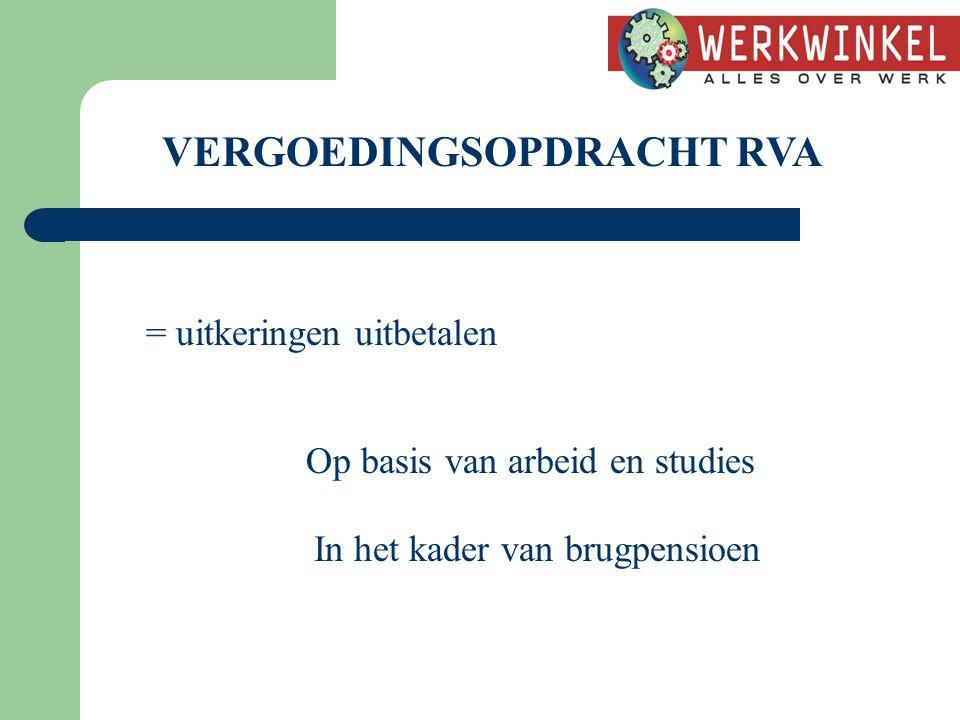 VERGOEDINGSOPDRACHT RVA = uitkeringen uitbetalen Op basis van arbeid en studies In het kader van brugpensioen