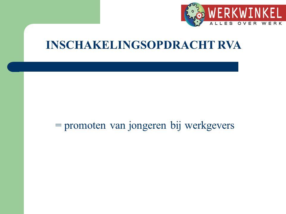 INSCHAKELINGSOPDRACHT RVA = promoten van jongeren bij werkgevers