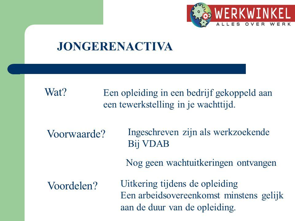 JONGERENACTIVA Wat.Een opleiding in een bedrijf gekoppeld aan een tewerkstelling in je wachttijd.