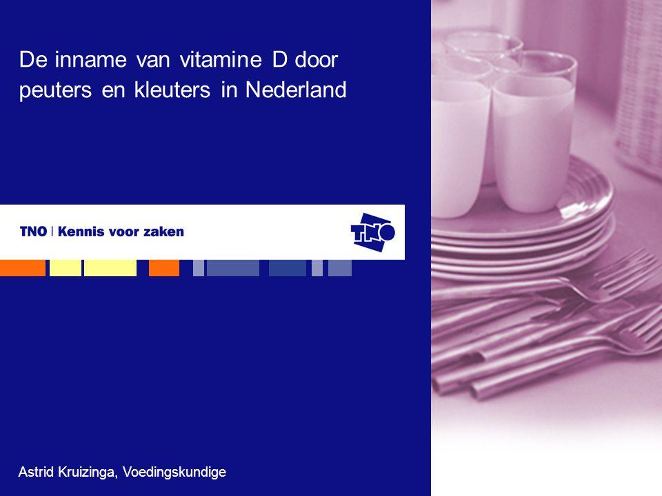 TNO Kwaliteit van Leven, 24 november 200812 Vitamine D inname voor jongens en meisjes – gemiddeld uit de voeding (mcg/dag) * uit Ocké et al., 2008