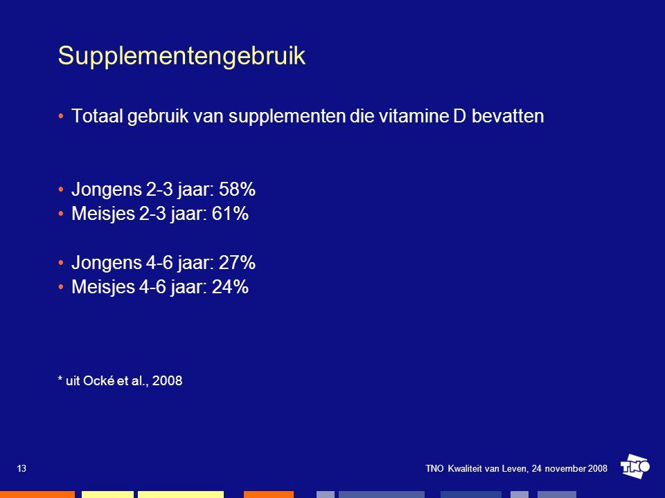 TNO Kwaliteit van Leven, 24 november 200813 Supplementengebruik Totaal gebruik van supplementen die vitamine D bevatten Jongens 2-3 jaar: 58% Meisjes