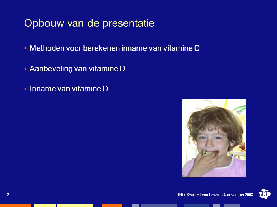 TNO Kwaliteit van Leven, 24 november 20082 Opbouw van de presentatie Methoden voor berekenen inname van vitamine D Aanbeveling van vitamine D Inname v