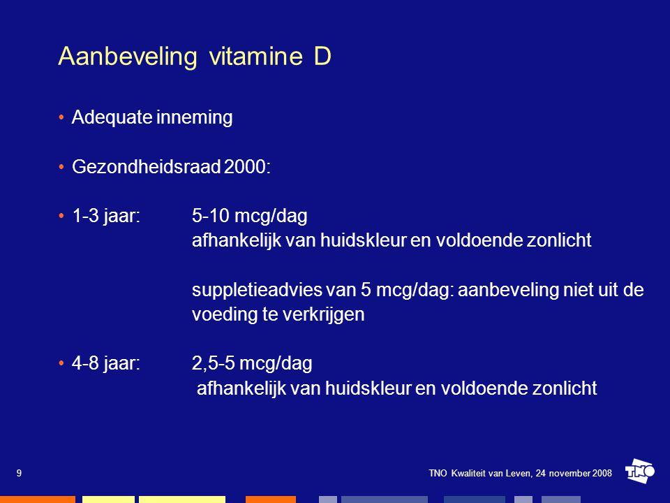 TNO Kwaliteit van Leven, 24 november 20089 Aanbeveling vitamine D Adequate inneming Gezondheidsraad 2000: 1-3 jaar:5-10 mcg/dag afhankelijk van huidsk