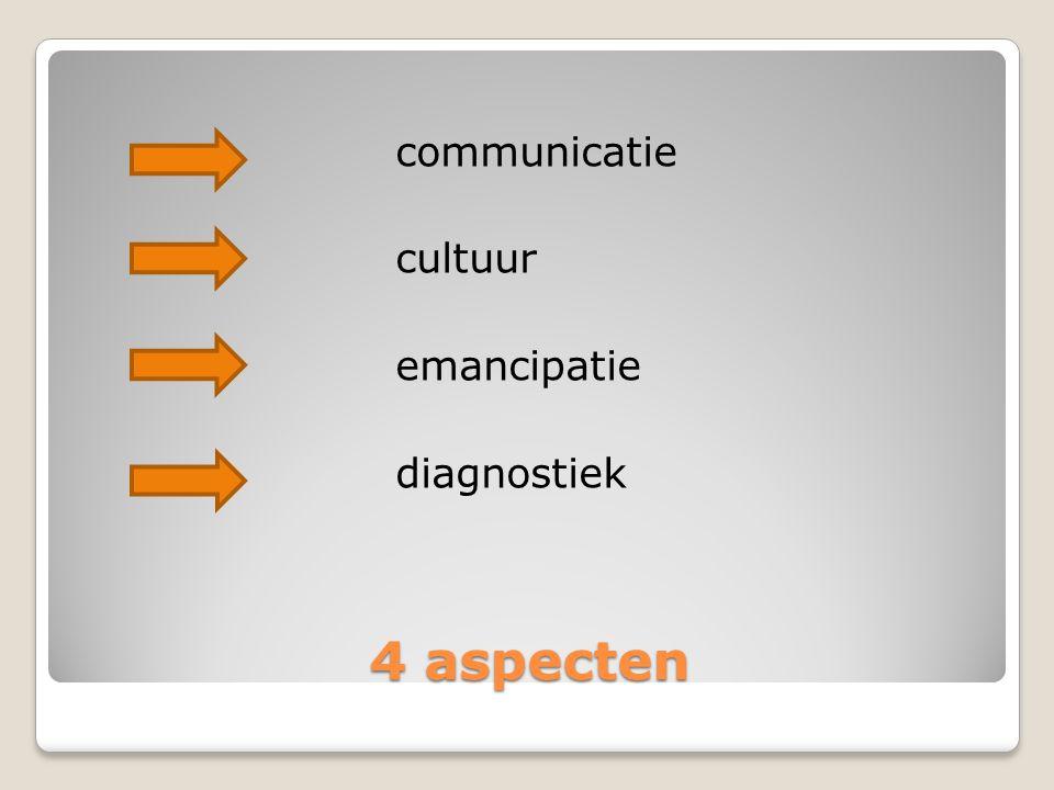 4 aspecten communicatie cultuur emancipatie diagnostiek