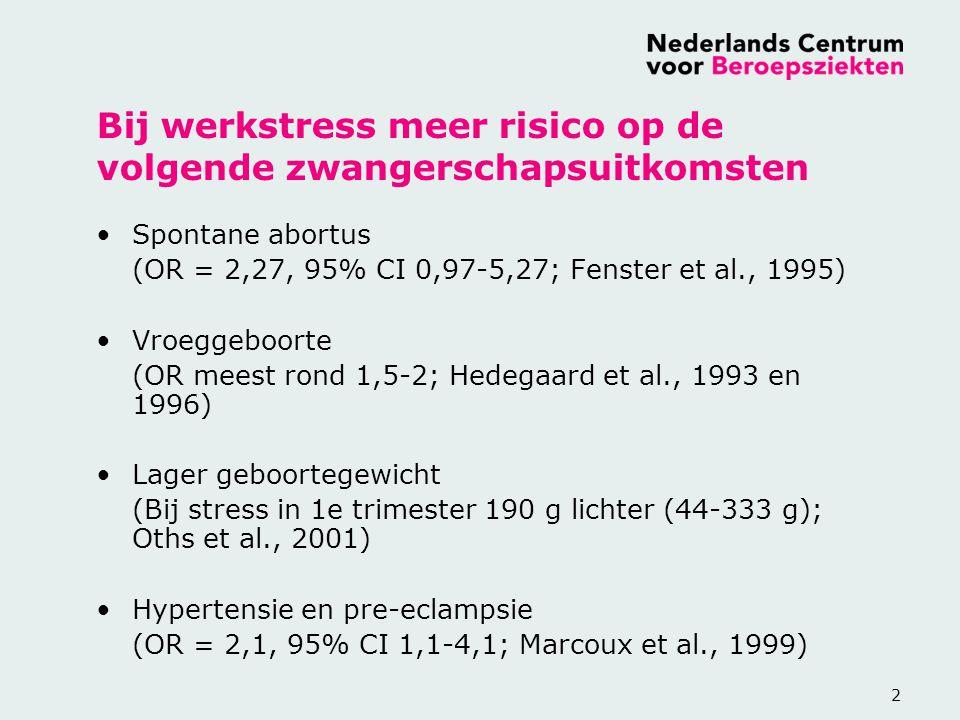 3 Werkstress en fertiliteit vrouw Geen effect op de duur van de menstruele cyclus (Fenster et al., 1995) Bij prospectieve studie bij hoge eisen van werk en weinig controle: korte cyclus van <25 d (OR 2,24, 95% CI 1,09-4,59; Fenster et al., 1999) Bij gestresste vrouwen juist lange menstruele cycli >35 dagen (OR 0,1, 95% CI 0.01-0,4; Hjollund et al., 1999) Toch geen effect op tijd nodig om zwanger te worden (OR 0,9, 95% CI 0,5-1,5; Hjollund et al., 1998)