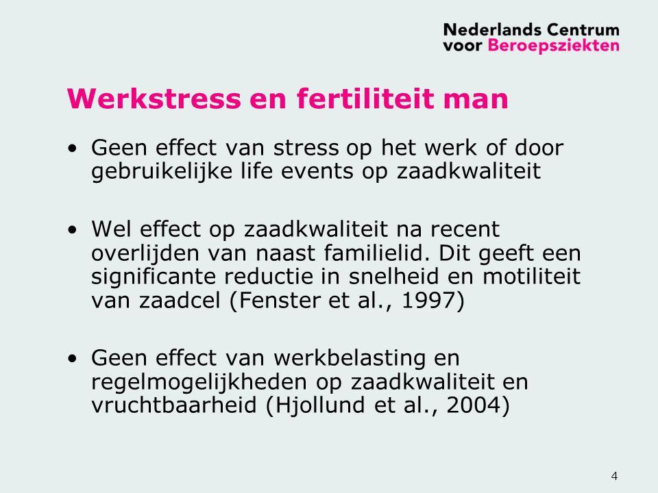 4 Werkstress en fertiliteit man Geen effect van stress op het werk of door gebruikelijke life events op zaadkwaliteit Wel effect op zaadkwaliteit na r
