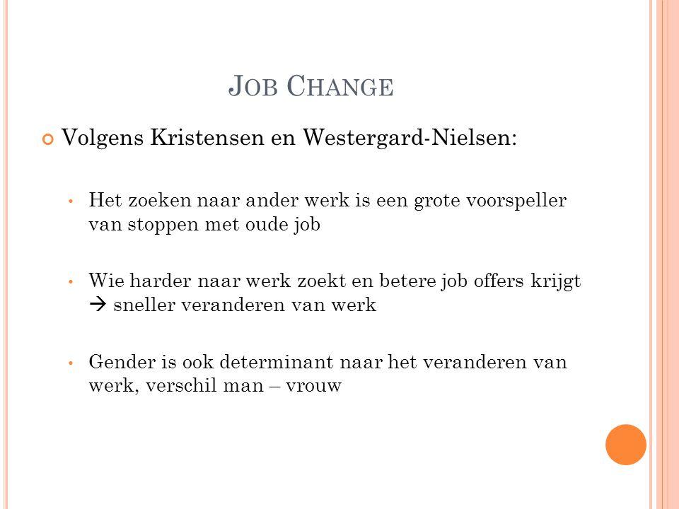 J OB C HANGE Volgens Kristensen en Westergard-Nielsen: Het zoeken naar ander werk is een grote voorspeller van stoppen met oude job Wie harder naar we