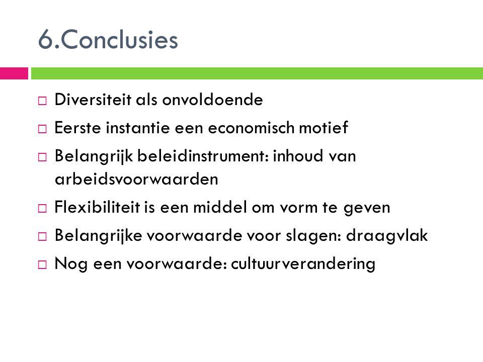 6.Conclusies  Diversiteit als onvoldoende  Eerste instantie een economisch motief  Belangrijk beleidinstrument: inhoud van arbeidsvoorwaarden  Fle