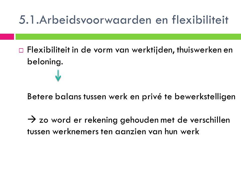 5.1.Arbeidsvoorwaarden en flexibiliteit  Flexibiliteit in de vorm van werktijden, thuiswerken en beloning. Betere balans tussen werk en privé te bewe