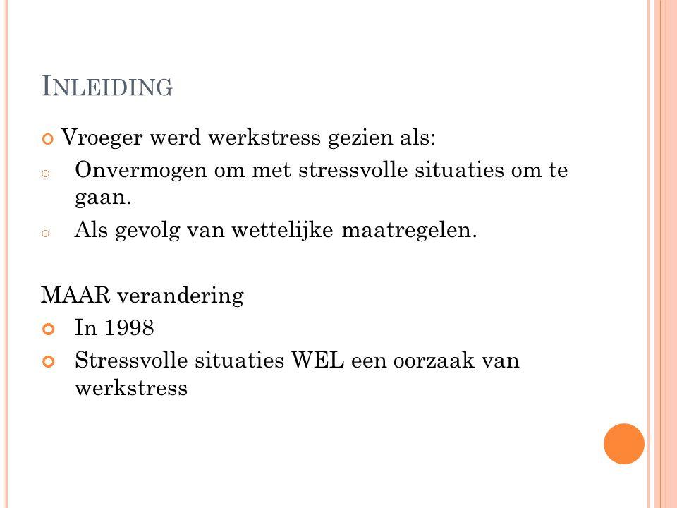 I NLEIDING Vroeger werd werkstress gezien als: o Onvermogen om met stressvolle situaties om te gaan. o Als gevolg van wettelijke maatregelen. MAAR ver