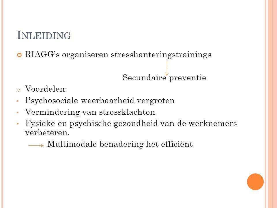 I NLEIDING RIAGG's organiseren stresshanteringstrainings Secundaire preventie o Voordelen: Psychosociale weerbaarheid vergroten Vermindering van stres