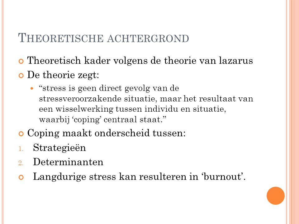 """T HEORETISCHE ACHTERGROND Theoretisch kader volgens de theorie van lazarus De theorie zegt: """"stress is geen direct gevolg van de stressveroorzakende s"""