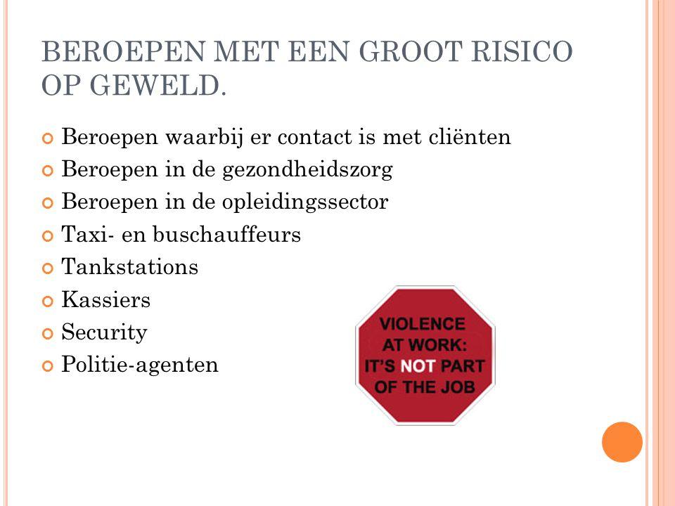 BEROEPEN MET EEN GROOT RISICO OP GEWELD.