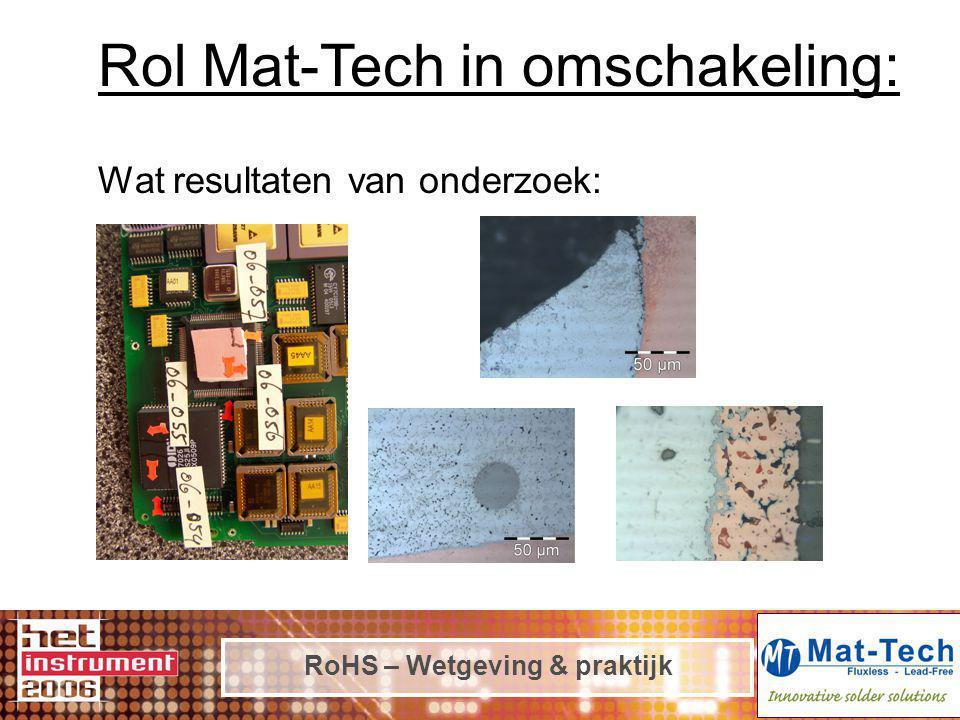 RoHS – Wetgeving & praktijk Rol Mat-Tech in omschakeling: Wat resultaten van onderzoek: