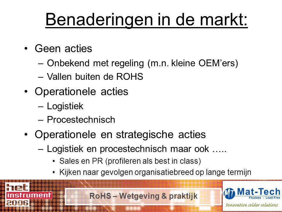 RoHS – Wetgeving & praktijk Benaderingen in de markt: Geen acties –Onbekend met regeling (m.n. kleine OEM'ers) –Vallen buiten de ROHS Operationele act
