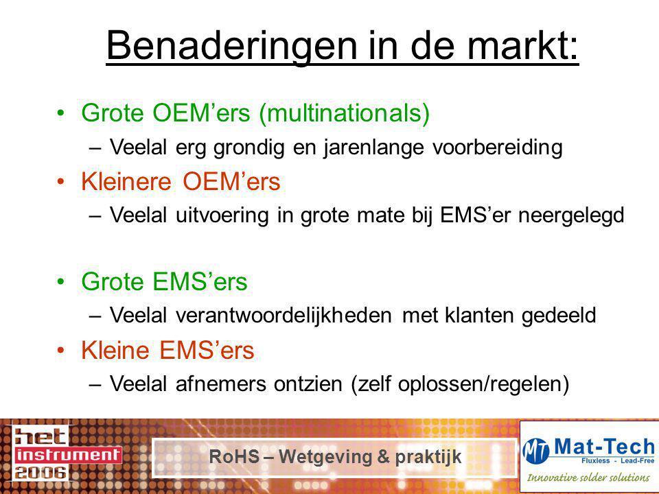 RoHS – Wetgeving & praktijk Benaderingen in de markt: Grote OEM'ers (multinationals) –Veelal erg grondig en jarenlange voorbereiding Kleinere OEM'ers